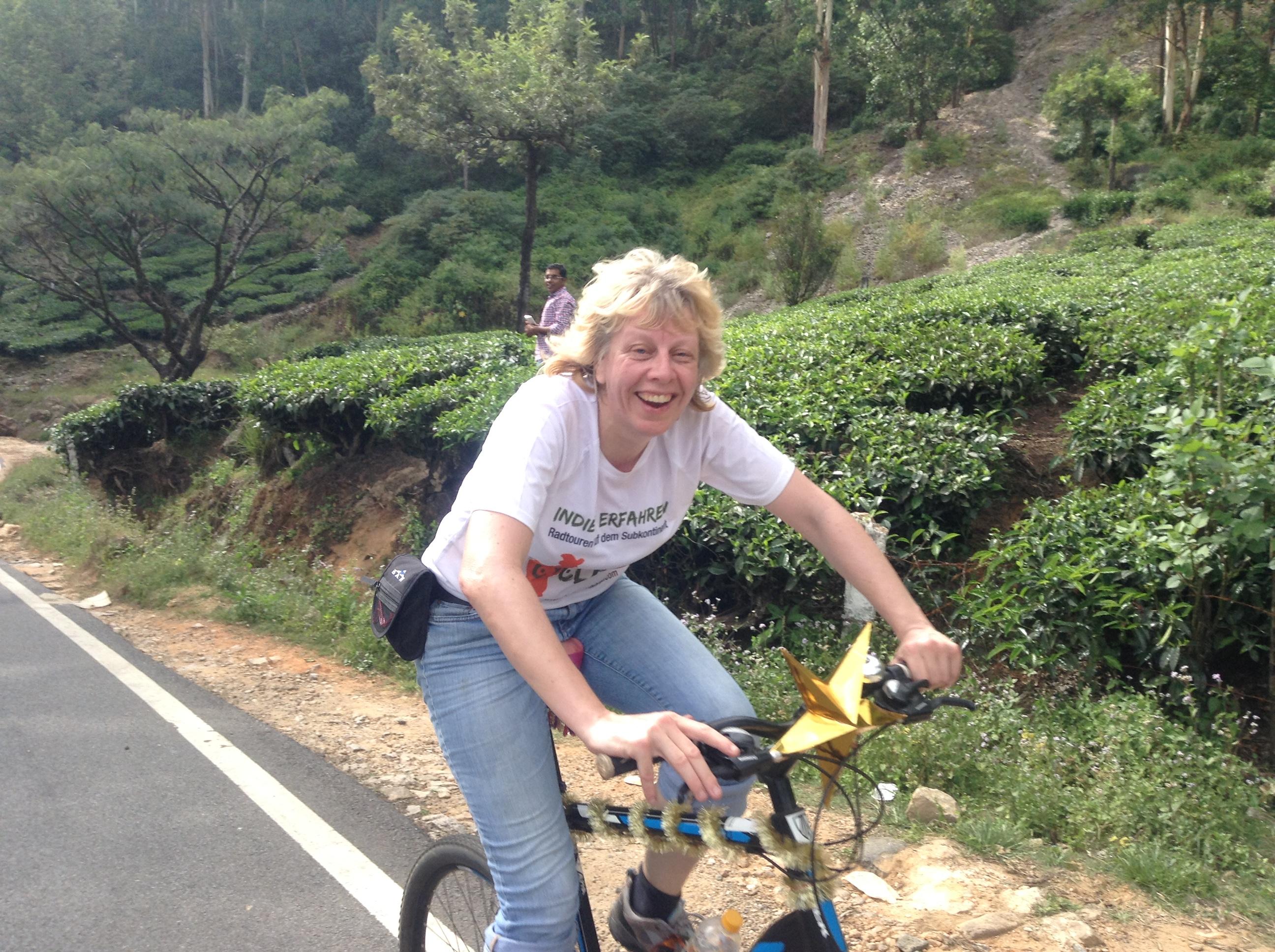 Glückliche Teilnehmerin unserer Fahrradtour